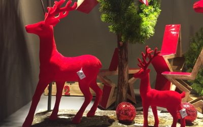 Decoración navideña en tienda